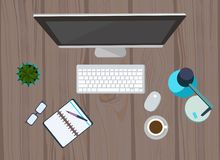 Workplace organization. Computer, glasses, diary and coffee mug. stock illustration
