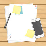 Workplace organization. Top view with wooden table, smartphone, pen, paper, sticky notes and paper clips Vector Illustration