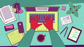 Workplace overhead view. royalty free illustration