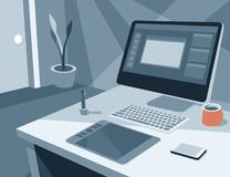 Workplace of an painter or designer Stock Photos