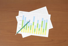 Workplace with pen and paper with graphs Royalty Free Stock Photography
