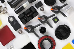 Workplace of the photographer. Photoaccessories Royalty Free Stock Images