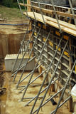 Workplace. Preparation for concreting support structure of the bridge Royalty Free Stock Photography