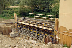 Workplace. Preparation for concreting support structure of the bridge Stock Images