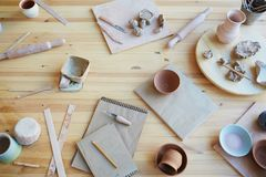Workplace of professional potter Stock Photography