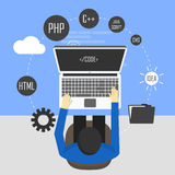 Workplace of programmer and process coding. And programming. Workflow and planning. Flat design style -  illustration Stock Photography