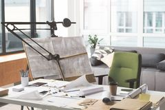 Workplace of qualified modern architect stock photography