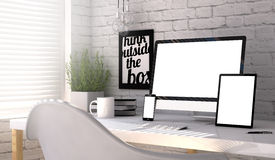 Workplace responsive mockup. Corporate devices mock up on an hardwood desk with laptop, tablet and smartphone Stock Image