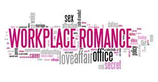 Workplace romance. Company employee dating and love. Office regulations word cloud Royalty Free Stock Photos