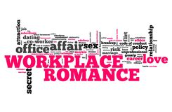 Workplace romance. Company employee dating and love. Corporate regulations word cloud Royalty Free Stock Photos