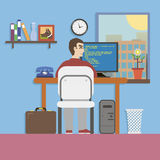 Workplace Room with Programmer and Website Code in Royalty Free Stock Images