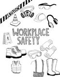 Workplace safety gear. Doodle style illustration drawing of workplace safety gear stock illustration