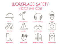 Workplace safety and personal protective equipment thin line icons set. Hard hat, hearing protection, gas mask, fire extinguisher, warning sign etc. Vector stock illustration