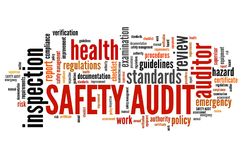 Workplace safety. Safety audit - work place safety and hazards inspection. Employment word cloud stock illustration