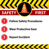 Workplace Safety Sign Icon. An image of a workplace safety first sign stock illustration