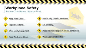 Workplace safety slide. An image of a workplace safety slide vector illustration