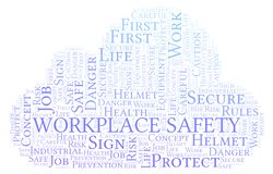 Workplace Safety word cloud. Word cloud made with text only vector illustration