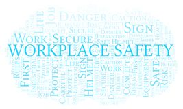 Workplace Safety word cloud. Word cloud made with text only stock illustration