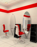 Workplace in salon of beauty. Mirror with armchairs. Minimalism Vector Illustration