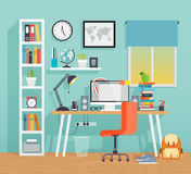 Workplace of the schoo kid - flat style. Stock Image
