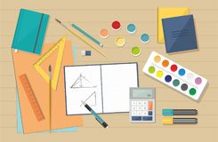Workplace. School Books, Painting Paints, brushes vector illustration