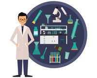 Workplace scientist chemist. The concept of science. Vector illustration vector illustration