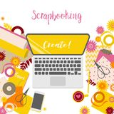 Workplace of scrapbooking master vector illustration
