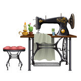 Workplace of seamstress on white background Royalty Free Stock Images