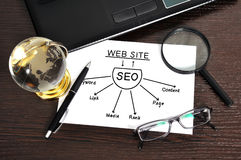 Workplace with seo Royalty Free Stock Photo