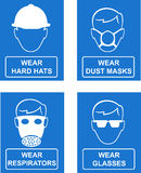 Workplace site safety signs. Vector illustration of Mandatory workplace and site management and safety signs isolated on white stock illustration