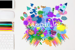 Workplace with sketch. Creative bright sketch on white office desktop with objects Stock Images