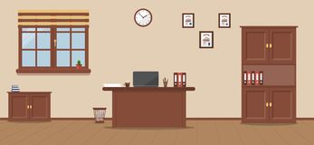 Workplace in the office on a cream background royalty free illustration