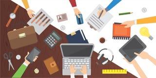 workplace Table de bureau Travail dans une conception plate moderne d'équipe illustration de vecteur