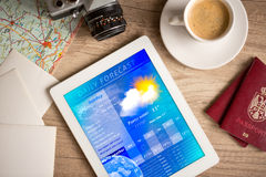 Workplace with tablet pc showing weather forecast. And a cup of coffee on a wooden work table Royalty Free Stock Images