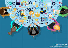Vector workplace team work Business Brainstorming with icon, flat design. Workplace team work Business Brainstorming with icon, flat design Stock Image