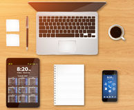 Workplace with tech device Royalty Free Stock Photo