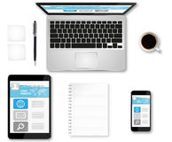Workplace with tech device Royalty Free Stock Images