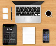 Workplace with tech device Stock Photo