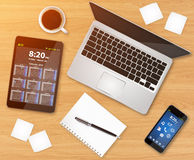 Workplace with tech device Royalty Free Stock Photography