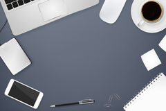 Workplace with tech device Stock Images