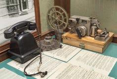 Workplace of telegraph operator stock photos