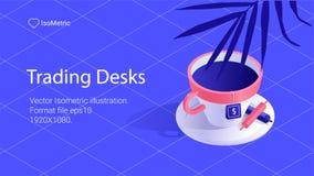 Workplace trader illustration, work desk banner, isometric illustration vector illustration