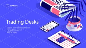 Workplace trader illustration, work desk banner, isometric illustration stock illustration