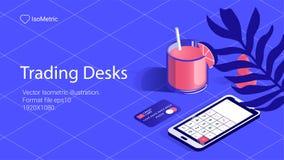 Workplace trader illustration, work desk banner, isometric illustration royalty free illustration