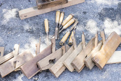 Workplace, Traditional tools sculptor, wood, hammers and chisels Royalty Free Stock Image