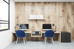 Workplace, two blue chairs, wood stock illustration
