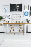 Workplace for two designers. Cozy, white workplace for two graphic designers royalty free stock photos