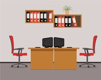 Workplace for two office workers in red colors. Vector flat illustration. There are tables, chairs, computers, folders and other objects in the picture Royalty Free Stock Image