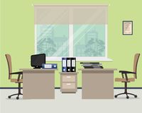Workplace for two office workers. Vector flat illustration. On the picture the tables, a chairs, the  computer,  folders and other objects in beige colors are Royalty Free Stock Photos