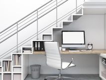 Workplace under the stairs. Workplace with a blank computer under the stairs, white chair, many folders, a dustbin. Concept of work. 3D rendering Stock Images